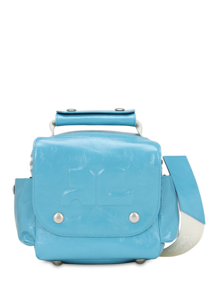 COURREGES Embossed Logo Patent Leather Travel Bag in blue