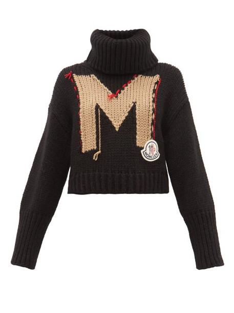 Moncler - Logo Jacquard Roll Neck Chunky Knit Sweater - Womens - Black Multi