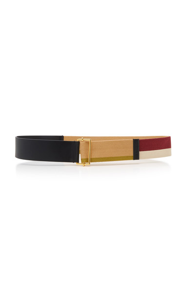 Marni Color Block Leather and Grosgrain Belt Size: M