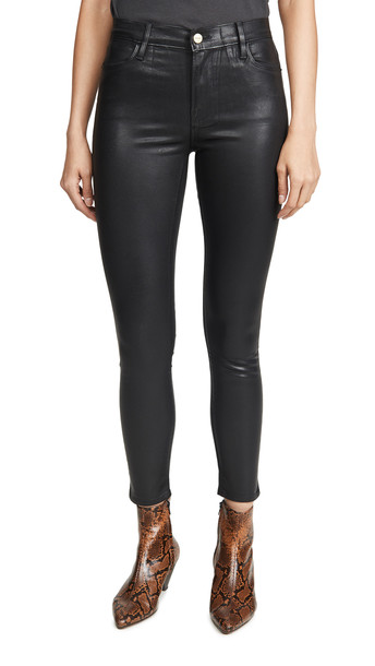 FRAME Le High Skinny Coated Jeans in noir