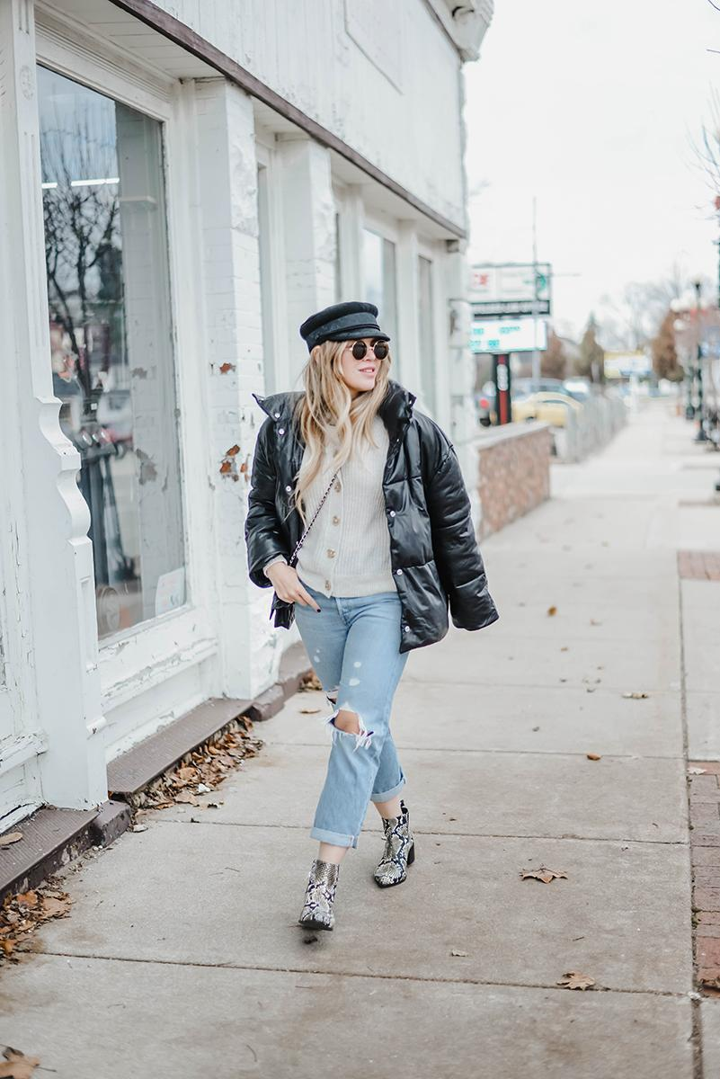 blonde bedhead blogger cardigan shoes coat jeans hat bag sunglasses