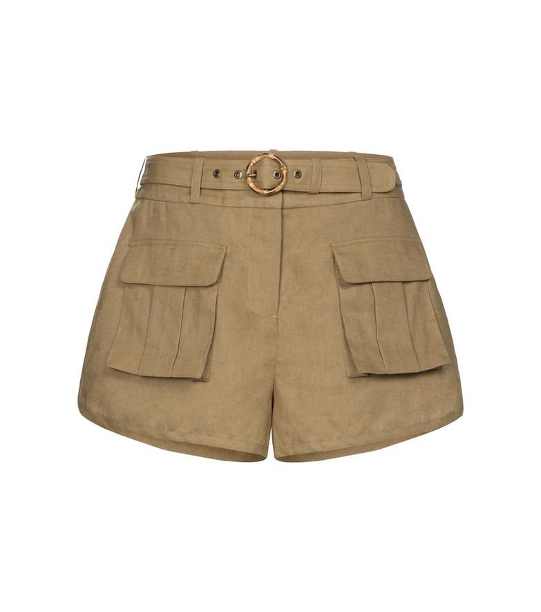 Zimmermann Brighton linen-blend shorts in green