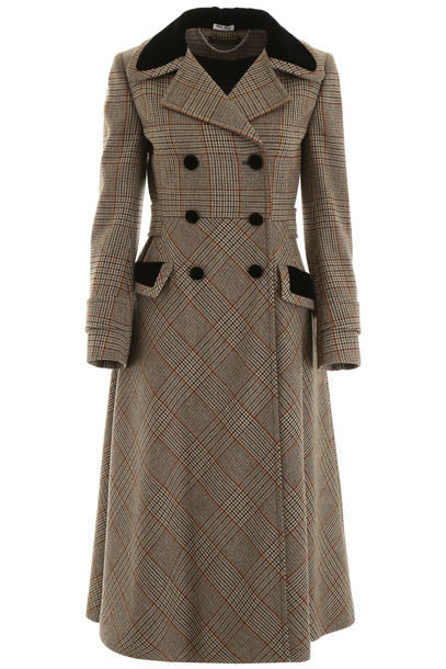 Miu Miu Prince Of Wales Coat in brown