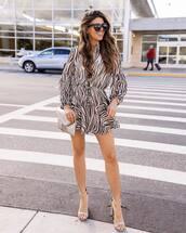 dress,mini dress,zebra print,long sleeve dress,sandals,silver bag