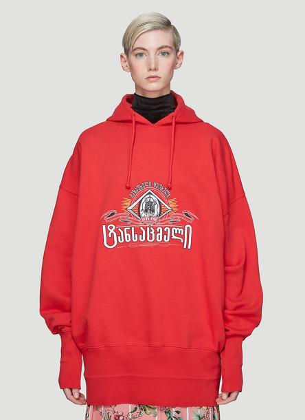 Vetements Hooded Secret Society Sweatshirt in Red size S