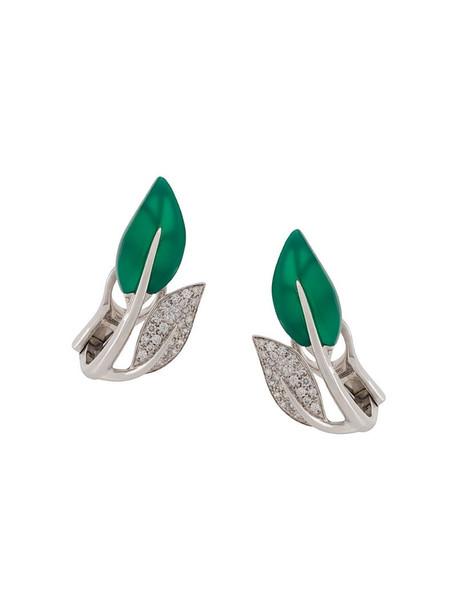MIMI 18kt white gold Foglia leaf earrings in silver