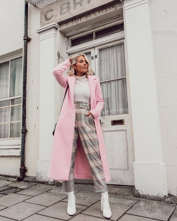 coat pink coat long coat river island white boots heel boots high waisted pants plaid white turtleneck top black bag pants grey pants straight pants