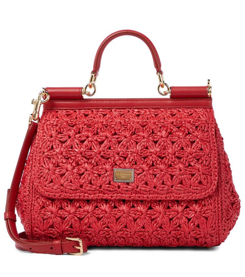 Dolce & Gabbana Sicily Medium crochet shoulder bag in red