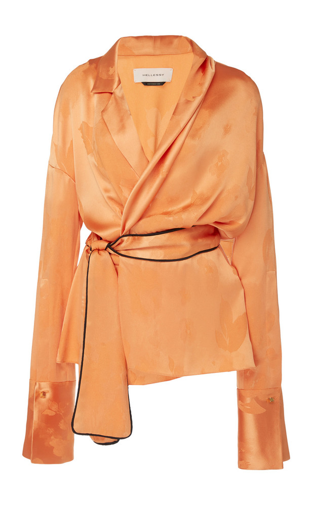 Hellessy Dali Satin-Effect Jacquard Wrap Blouse in orange