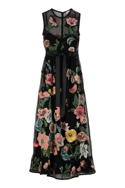 RED Valentino Embroidered Macramé Dress in black