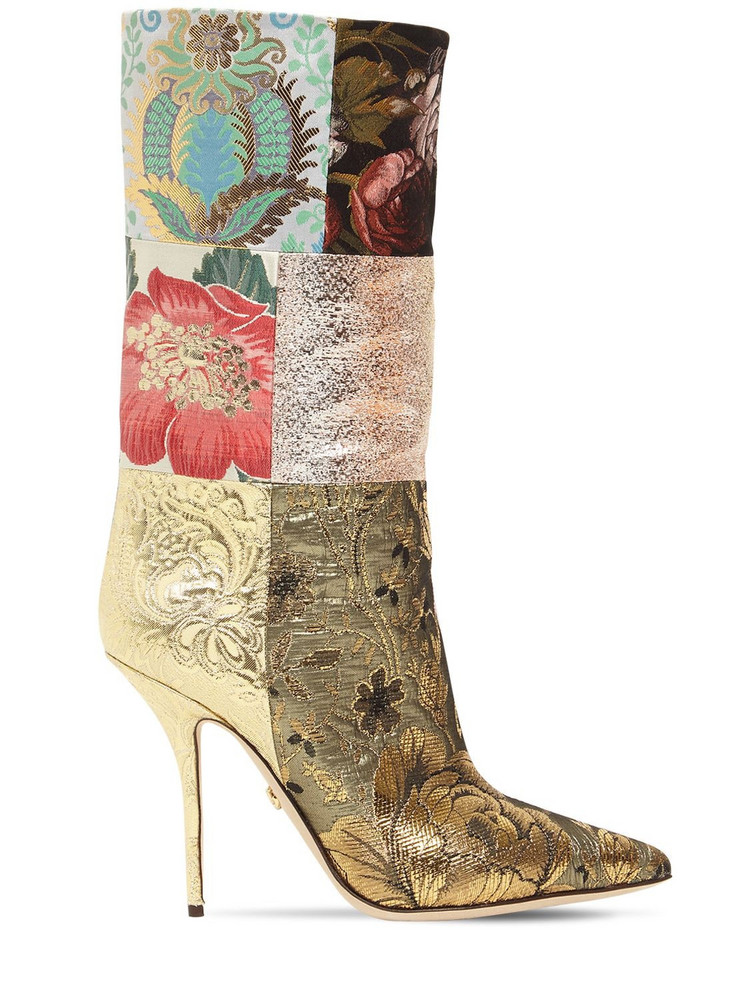 DOLCE & GABBANA 105mm Patchwork Canvas Boots