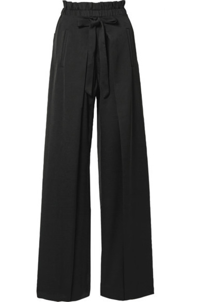 Cult Gaia - Naomi Tie-front Satin Wide-leg Pants - Black