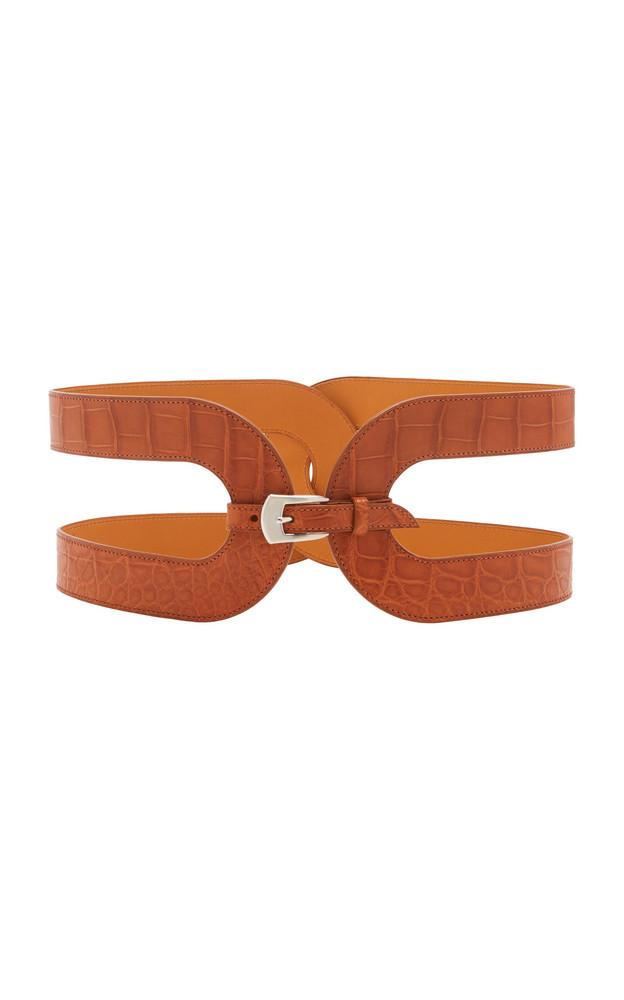 Maison Vaincourt Exclusive Crocodile Waist Belt Size: 75 cm in brown