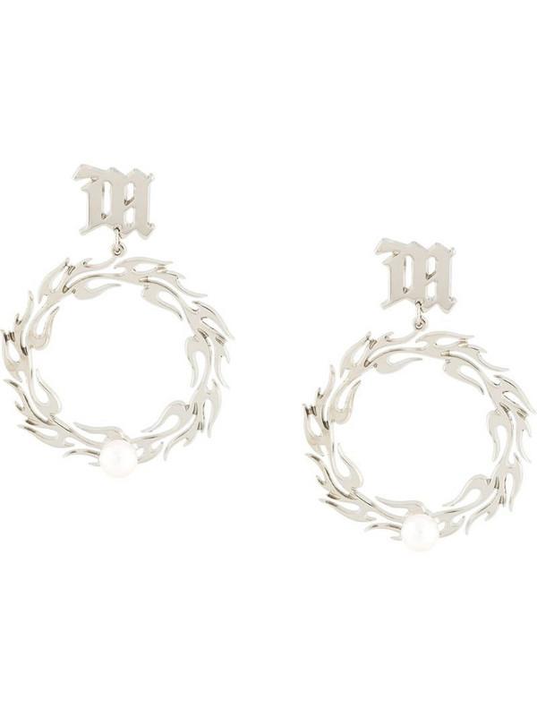 MISBHV logo plaque hoop earrings in silver