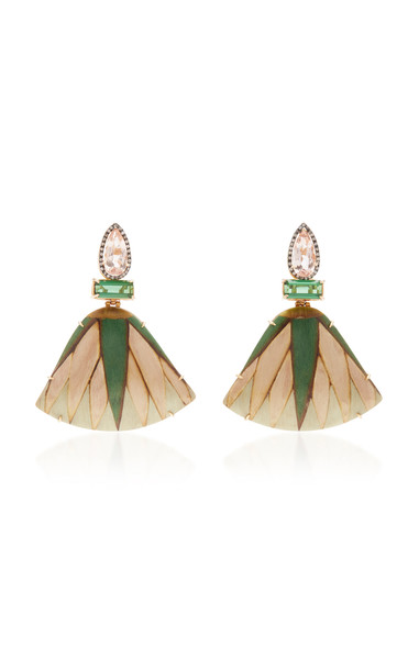 Silvia Furmanovich 18K Gold, Marquetry, Tourmaline and Diamond Earring in multi