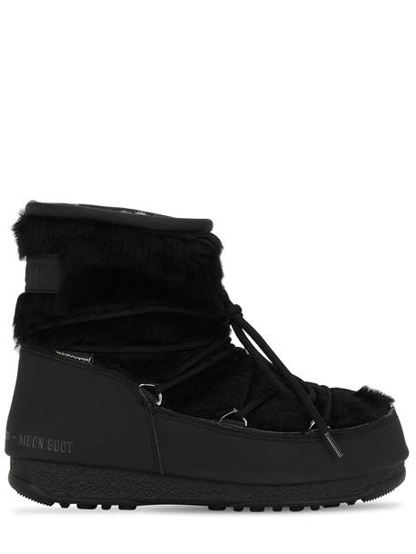 MOON BOOT Monaco Low Faux Fur Wp Boots in black