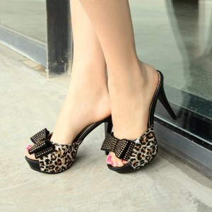 Black Leopard Print Platform Bow Rhinestone Mule Heels Sandals