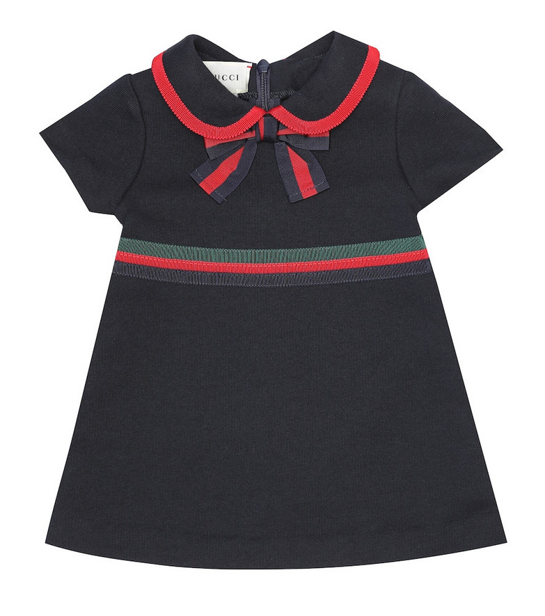 Gucci Kids Baby cotton jersey dress in blue