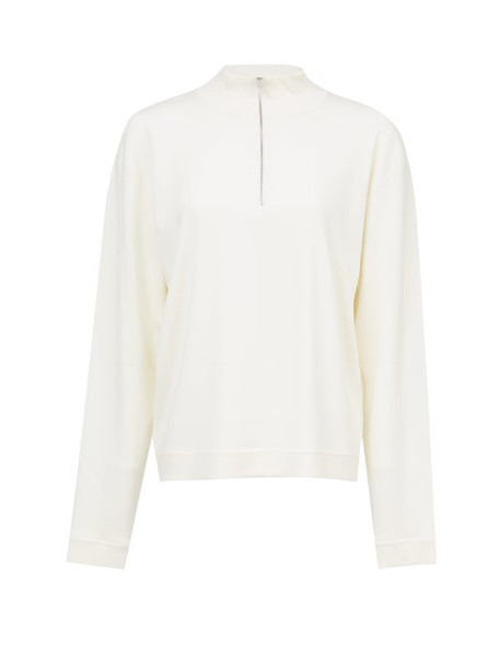 The Row - Molly Zip-neck Wool-blend Sweater - Womens - White