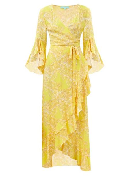 Melissa Odabash - Cheryl Ruffled Leaf-print Maxi Wrap Dress - Womens - Yellow Print