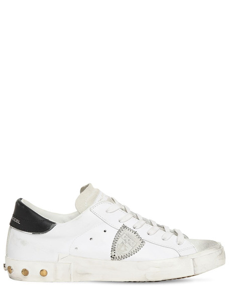 PHILIPPE MODEL Paris Studded Leather & Suede Sneakers in black / white