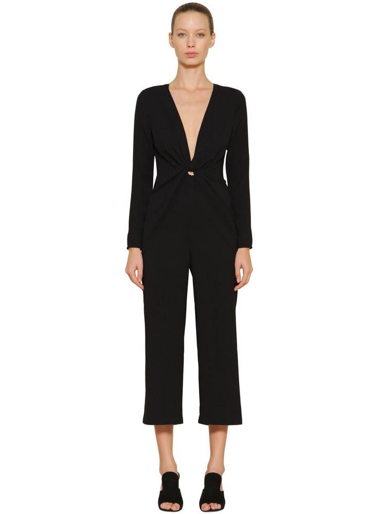 SELF-PORTRAIT Stretch Crepe Jumpsuit in black