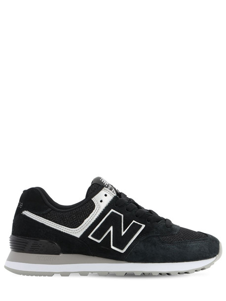 NEW BALANCE 574 Suede & Mesh Sneakers in black