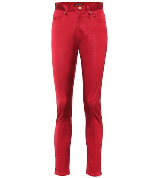 Undercover Cotton-blend high-rise pants in red