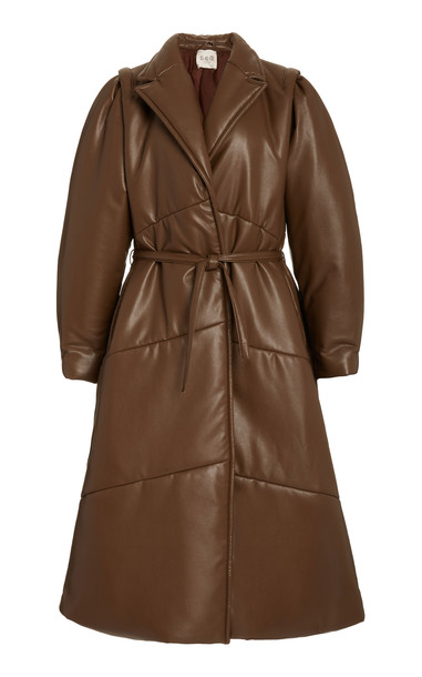 Sea Vegan Leather Waist Tie Coat in brown