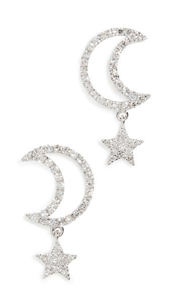 Meira T 14k Moon Star Earrings in gold / white