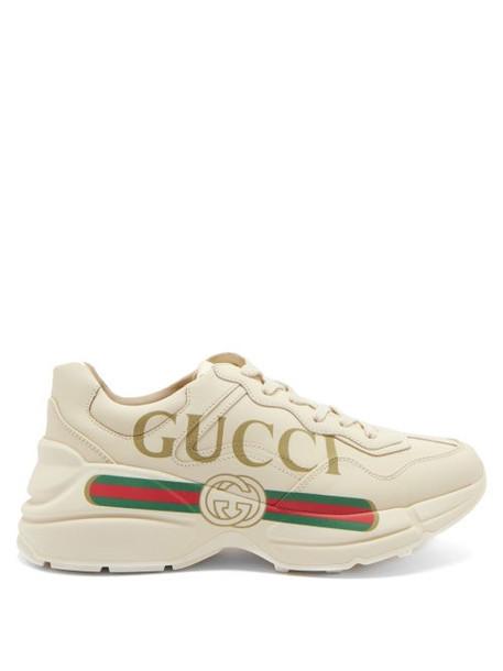 Gucci - Rhyton Logo-print Leather Trainers - Womens - Cream Multi