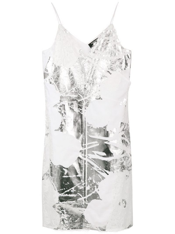 Calvin Klein 205W39nyc foil and lace dress in white