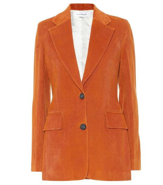 Victoria Beckham Cotton corduroy blazer in orange