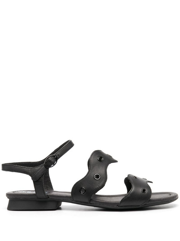 Camper TWS scalloped leather sandals in black