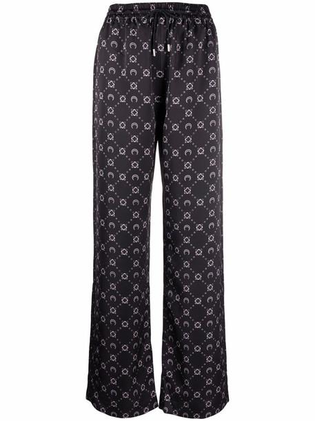 Marine Serre motif-print drawstring-waist trousers - Black