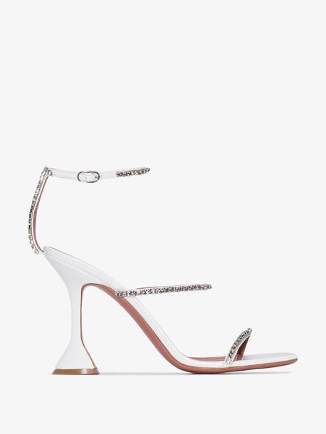 Amina Muaddi white Gilda 95 crystal embellished leather sandals