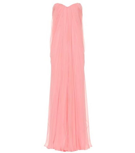 Alexander McQueen Strapless silk organza gown in pink