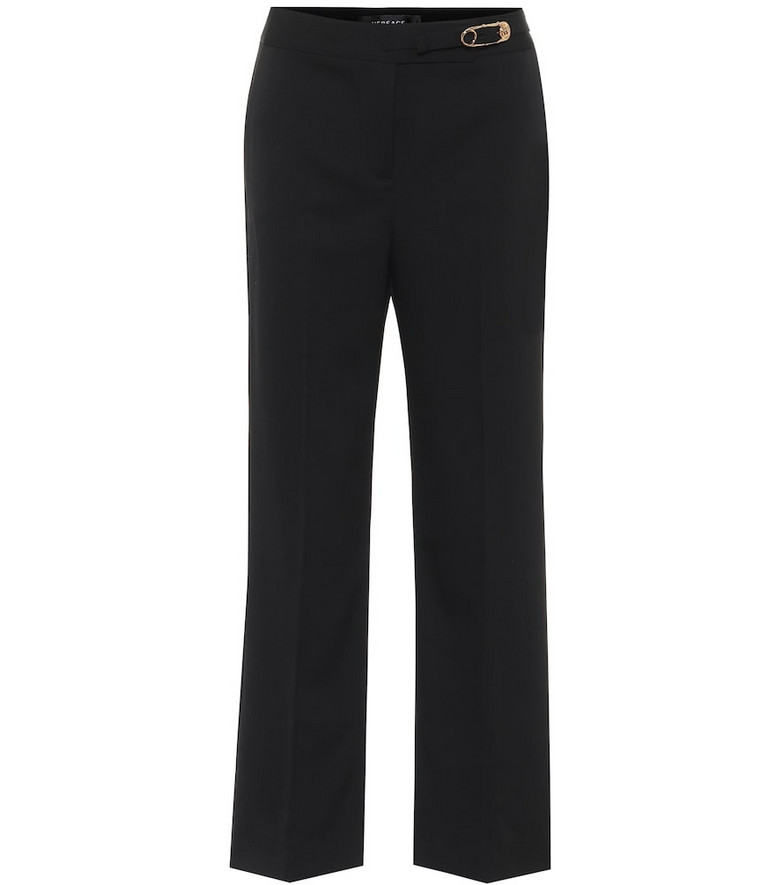 Versace Embellished stretch-wool pants in black