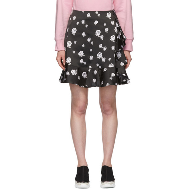 Kenzo Black Roses Ruffled Miniskirt