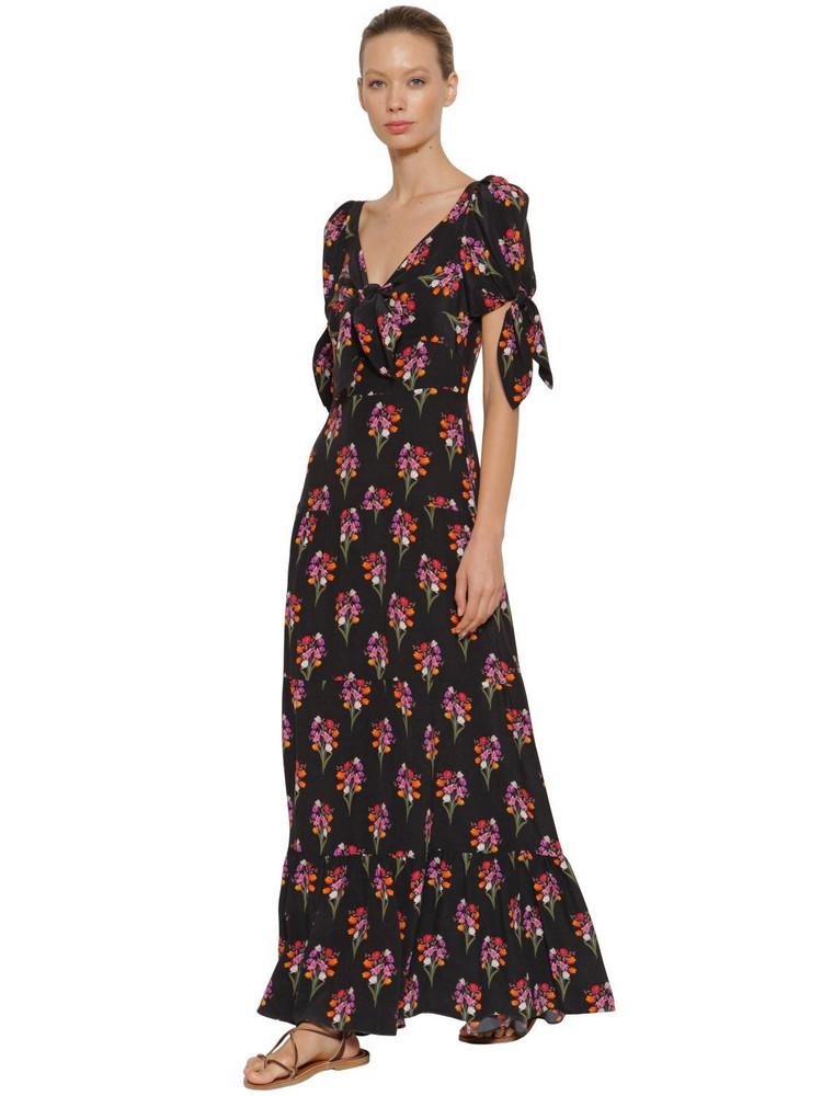 BORGO DE NOR Ophelia Bouquet Print Silk Long Dress in black / multi