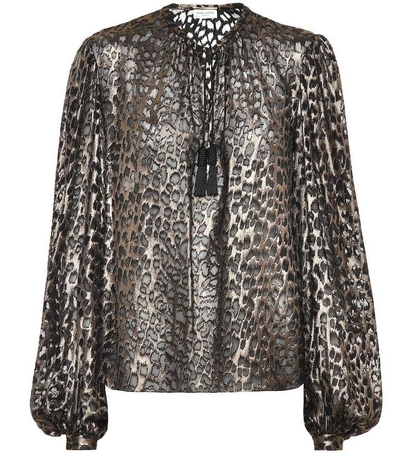 Saint Laurent Leopard-print silk-blend blouse in metallic