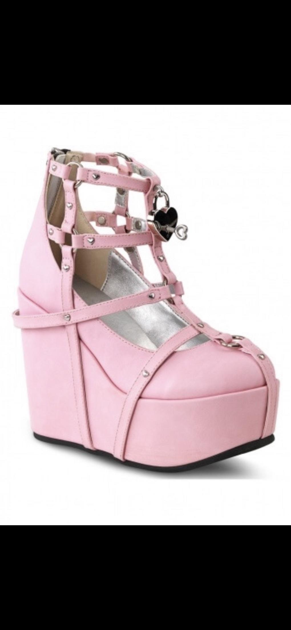 shoes pink pastel goth platform shoes high heels