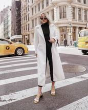 coat,white coat,long coat,black turtleneck top,black skinny jeans,sandals