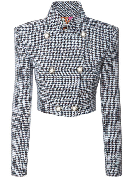 ALESSANDRA RICH Sequined Houndstooth Cropped Jacket