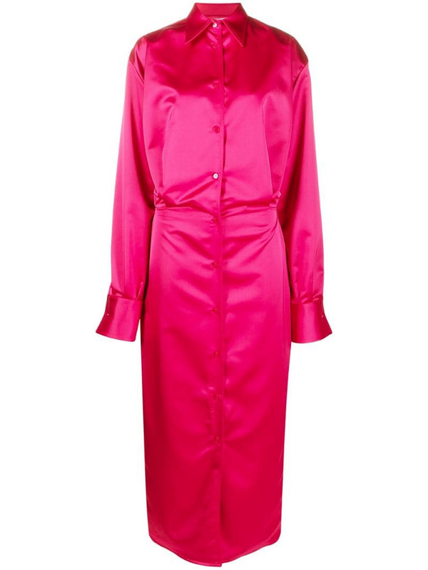 The Attico satin long-length shirt dress in pink
