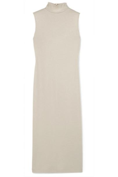 Vince - Wool-blend Turtleneck Midi Dress - Gray