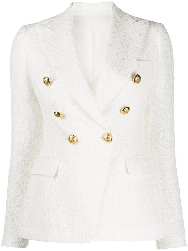 Tagliatore Jalicya textured blazer jacket in white