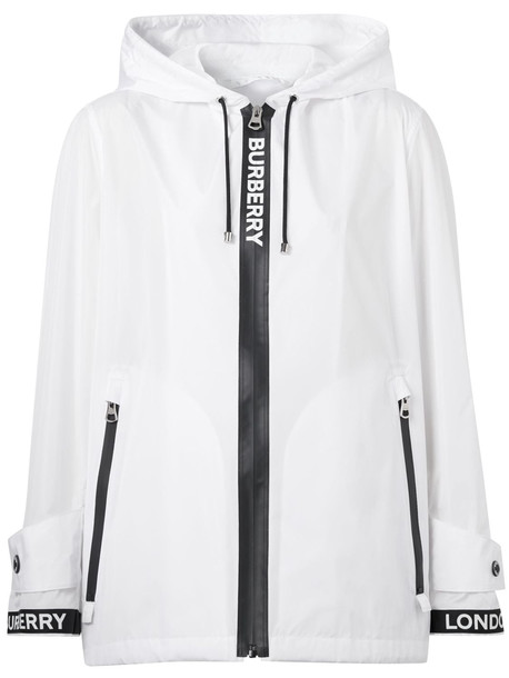 BURBERRY Everton Econyl Windbreaker Jacket in black / white
