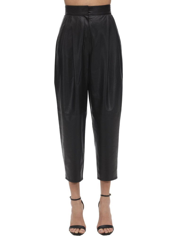 IN THE MOOD FOR LOVE High Waist Leather Wide Leg Pants in black