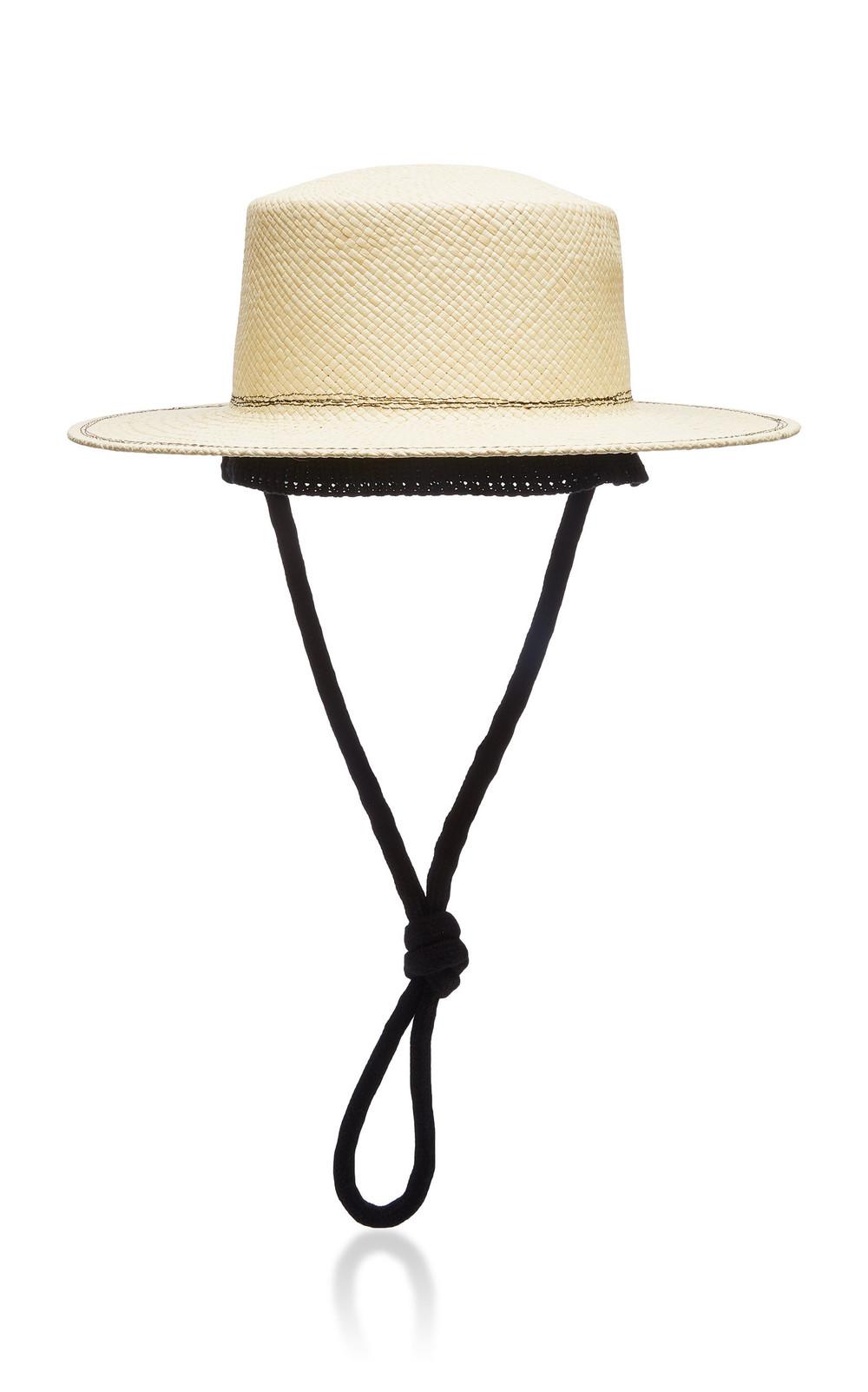 Federica Moretti Cotton-Trimmed Straw Hat in neutral